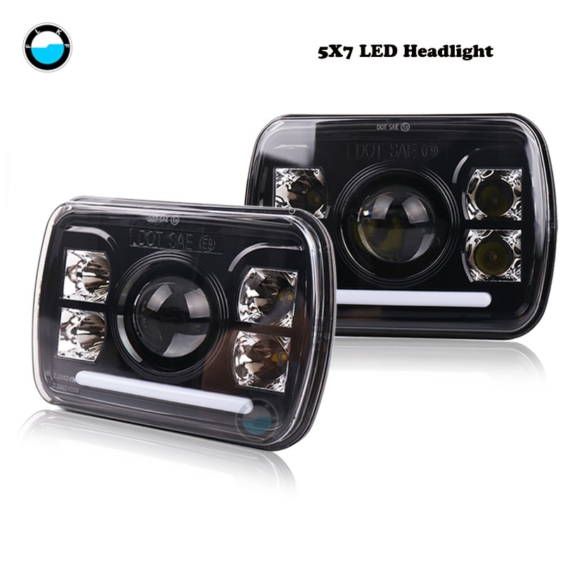 2 PCS 7x6 Led Headlights Hi/Lo Beam 5x7 inch led headlamp  For Jeep Wrangler YJ Cherokee XJ Trucks H4 LED Square Headlights