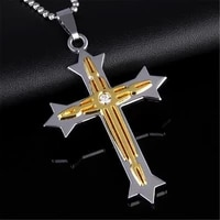 new cross necklace men gold silver rhinestone cross pendant necklace byzantine chain long necklace 2019 hip hop jewelry