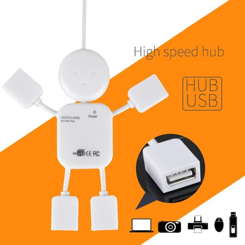 Concentrador Micro USB creativo de tipo humano 2,0, puerto USB múltiple, concentrador de 4 puertos, USB, USB de alta velocidad, divisor USB para PC, accesorios de ordenador