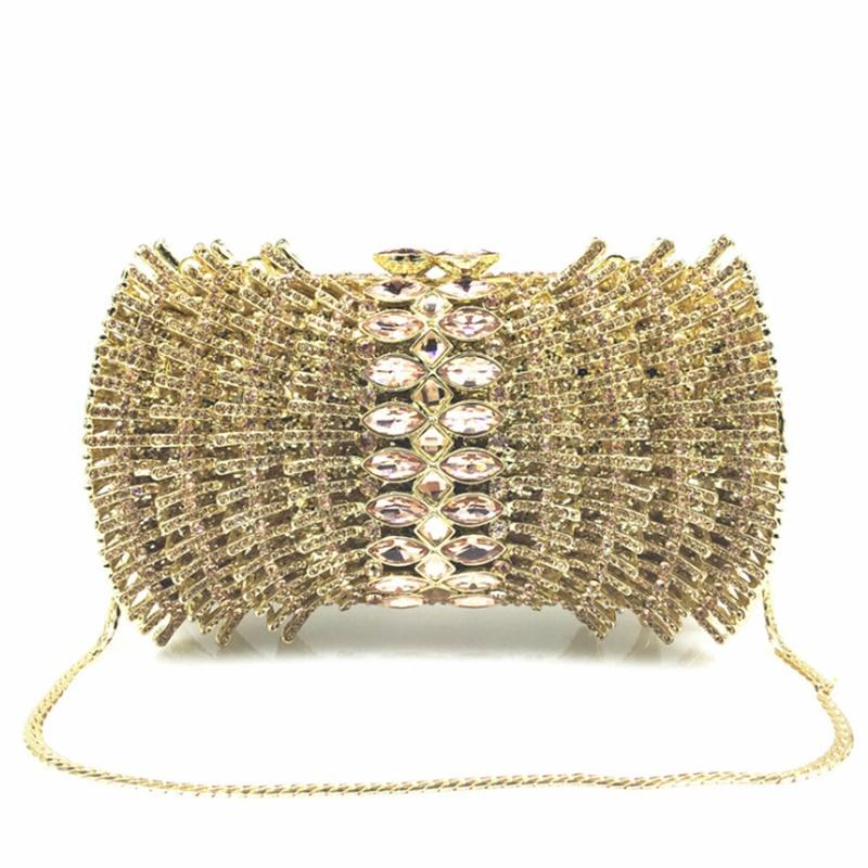Vestido de Noiva Bolsas de Embreagem Festa de Casamento de Moda Ouro Prata Cristal Senhora Embreagens Noite Bolsa Strass Diamante – Oco Out