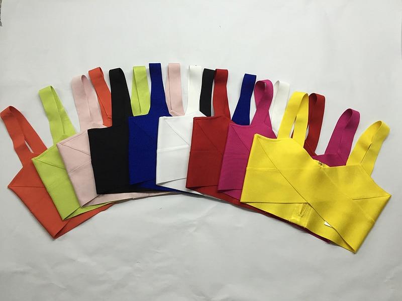 9 cores colorido estilingue preto verde amarelo laranja celebridade topo curto festa rayon bandagem topo