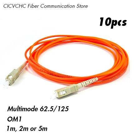 10 قطعة SC/UPC-SC/UPC Patchcord-MM(62.5/125) OM1-1m ، 2m ، 5m-3.0 مللي متر كابل/الألياف الطائر