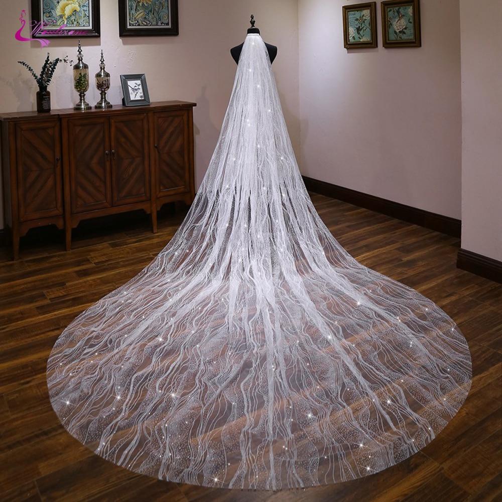 Waulizane elegante macio tule fio de seda 3 metros comprimento véu de casamento véu nupcial com pente