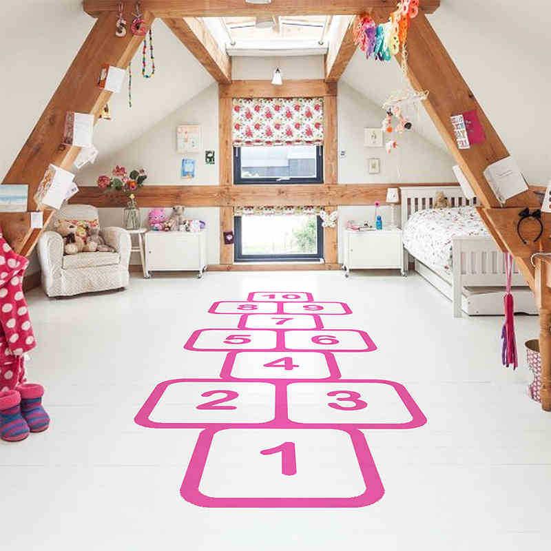 Berçário personalizado piso adesivos de parede para crianças quartos família jogos memórias da infância vara salto xadrez brincalhão hopscotch decalque