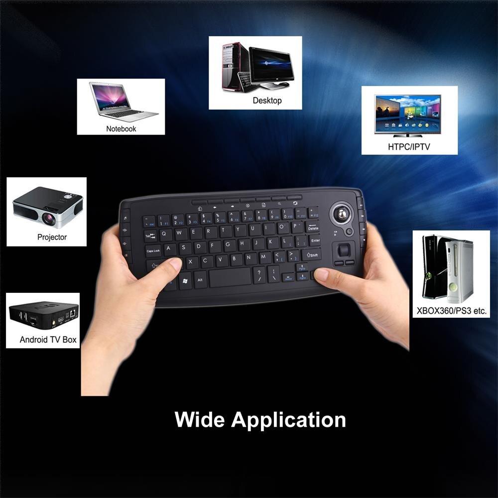 Diseño decente Natural Trackball 2,4G Mini teclado inalámbrico Multi-media funcional Trackball ratón de aire # T10G