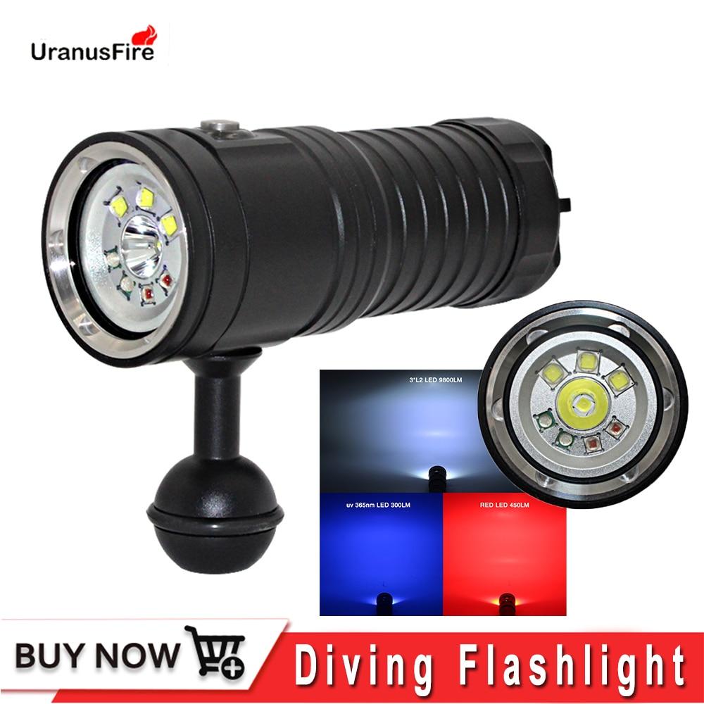 Uranusfire linterna LED foto linterna para fotógrafo XM L2 UV rojo vídeo submarino lihgt lámpara de buceo antorcha 32650 led antorcha