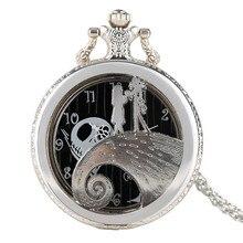 Luxe argent cadeau montres célèbre le cauchemar avant noël montre de poche mode collier pendentif moderne demi chasseur chaîne
