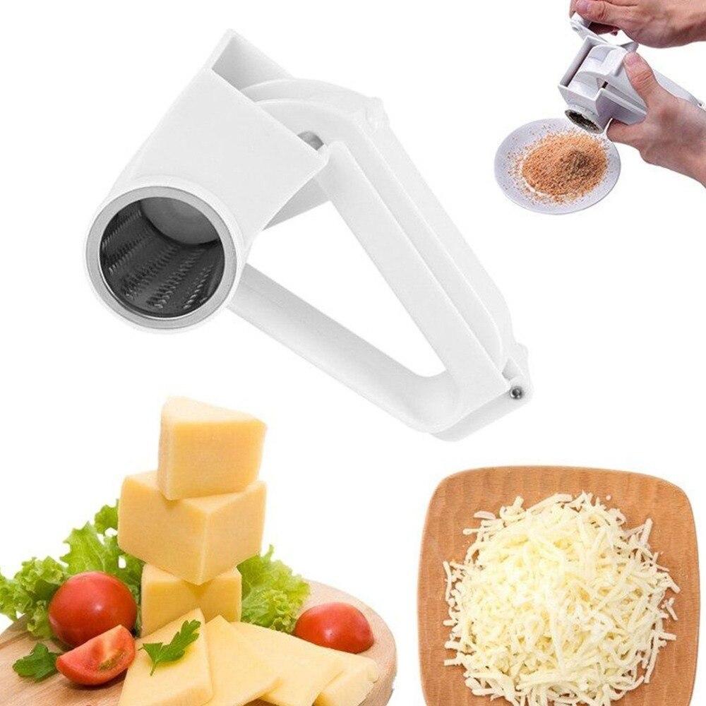 Rallador rotativo manual de queso plástico, rallador rotativo de jengibre, cortador rallador para Chocolate con tambor de acero inoxidable