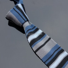 Ikepeibao Blue Gray Skinny Knitted Narrow Ties Neck Tie Men's Necktie width:5cm