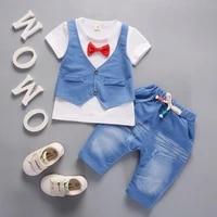 hot sale baby boy clothes set quality cotton childrens denim shirt boy jeans body suit kids denim pants costume for boys