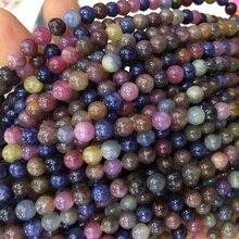 Véritable saphir multicolore rouge violet bleu rubis perles rondes en vrac 4-18mm pour bijoux 15
