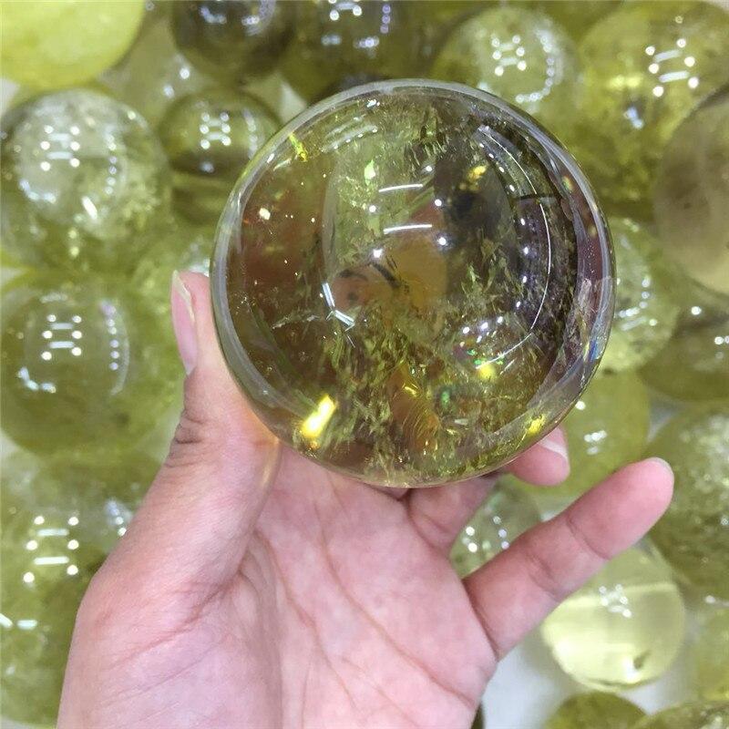 La mejor bola de cristal natural de cuarzo citrino con esfera de piedras preciosas reiki curativa, bola de cristal para decoración del hogar, Bola de meditación