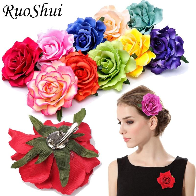 1PC Bohemian Rose Artificial Flower Hairpin Bridal Wedding Party Brooch Women Hair Clips Headwear Gi