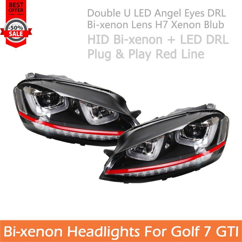 مصباح أمامي للسيارة من VW Golf 7 مناسب لغولف 7 GTI مصباح أمامي بمصباح LED ثنائي العينين DRL مصباح أمامي أمامي أمامي خيط أحمر أزرق زينون H7