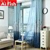Rideau aveugle moderne bleu et café à motif de château tissu de Voile pour chambre d'enfant AP230 et 30