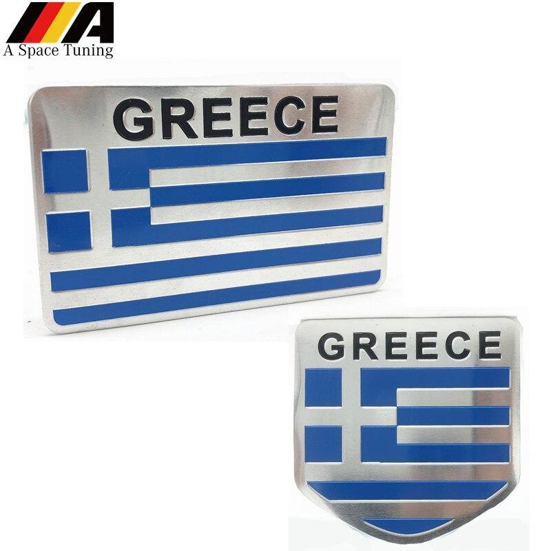 Aluminium Legierung Griechenland Nationalen Flagge Emblem Abzeichen Dekoration Auto Fender Aufkleber Aufkleber Zubehör für Yamaha Honda Kawasaki