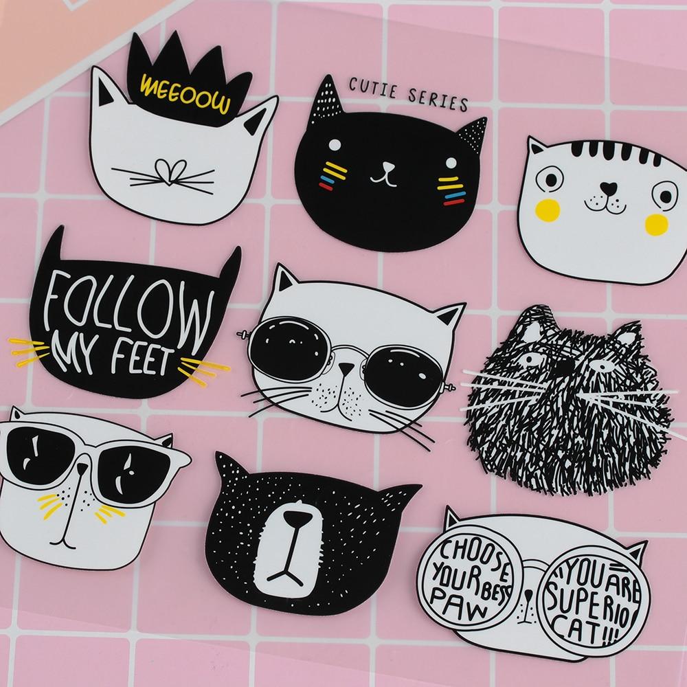 9 unids/set de dibujos animados negro Graffiti cara de gato lindo Iron-on parche niños calcomanías para ropa DIY parche de hierro-on Transferencia de Calor parche