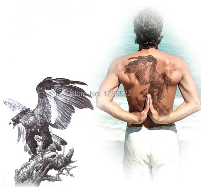 1pcs 2014 hot 23x29cm Large Desert eagle 3d Temporary Tattoo stickers big back tattoos for men