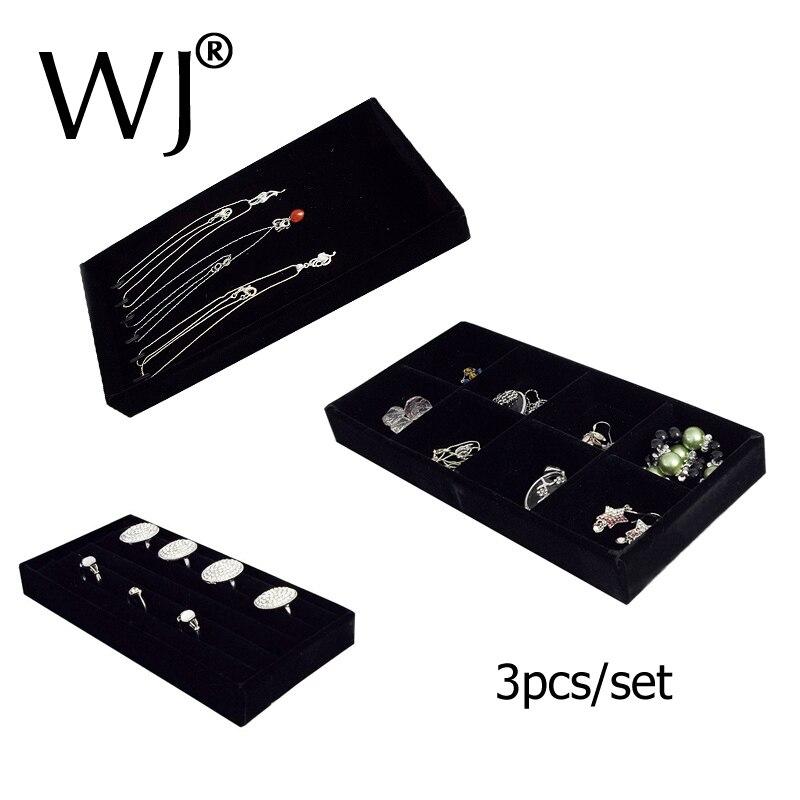 Loja contador de topo jóias exibir bandeja kit para anel pulseira colar contas caixa compartimento veludo organizador armazenamento vitrine conjunto