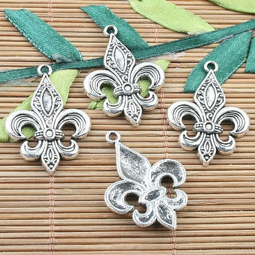 Encantos DE diseño DE flor DE LEI DE color plata tibetana 14 Uds EF0071
