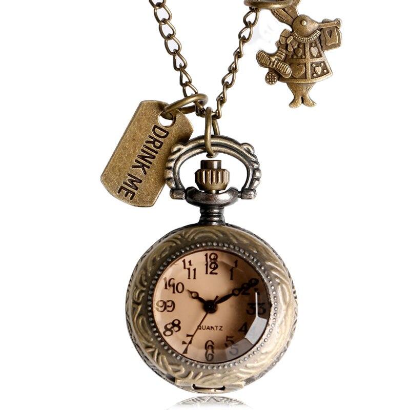 Retro Alicia en el país de las Maravillas conejo regalo caliente cobre bolsillo reloj oscuro marrón cristal collar moda beber Me etiqueta colgante