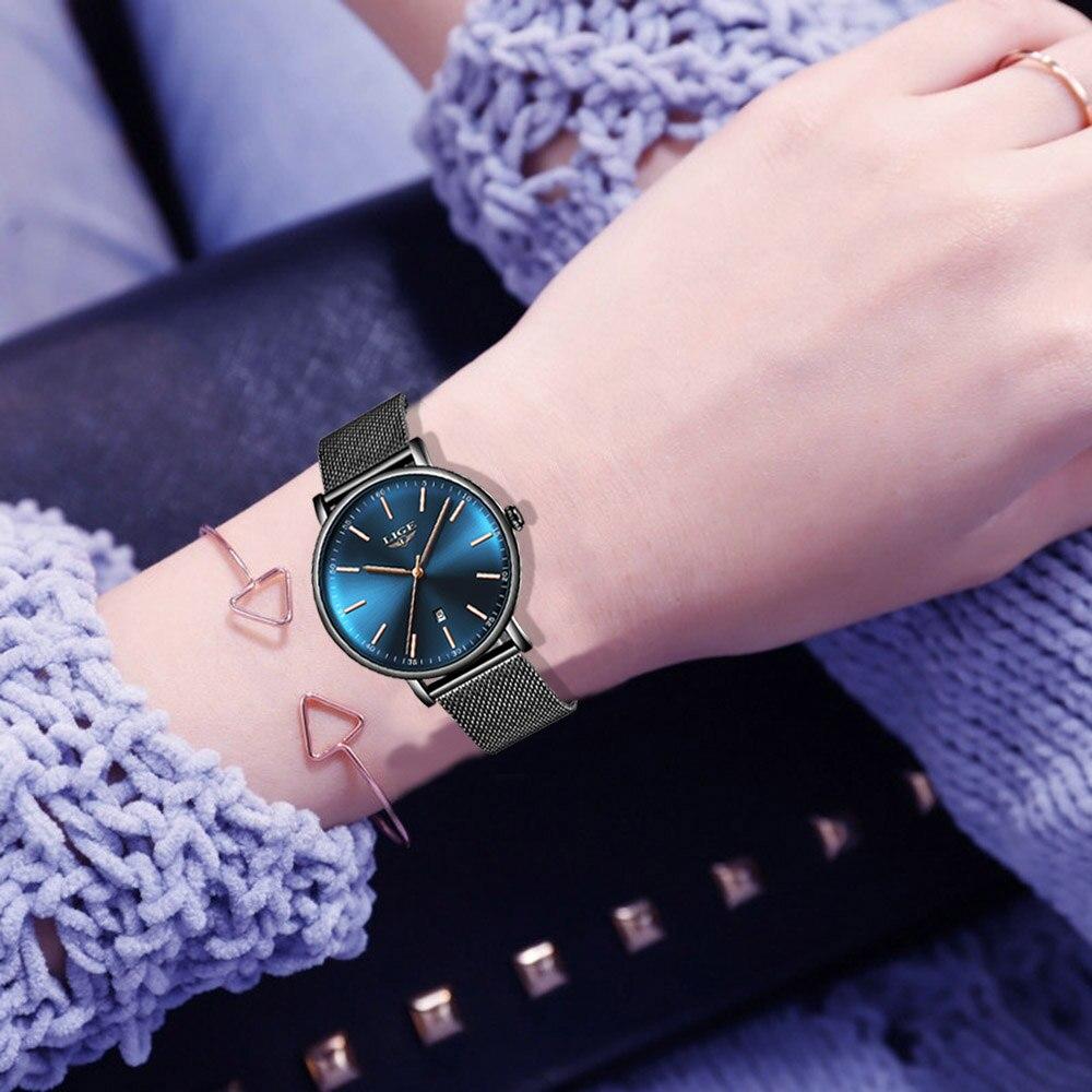 LIGE Ultra-thin Ladies Watch Brand Luxury Ladies Watch Waterproof Watches Stainless Steel Quartz Watch Ladies Montre Femme+Box enlarge