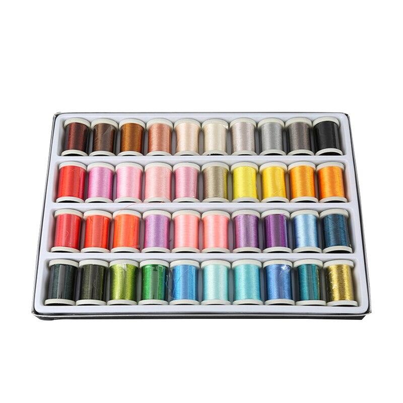 40 colores/caja de carretes de bordado máquina de coser hilo de punto Spools artesanía bordado hilo de hilo Kit DIY herramientas de coser