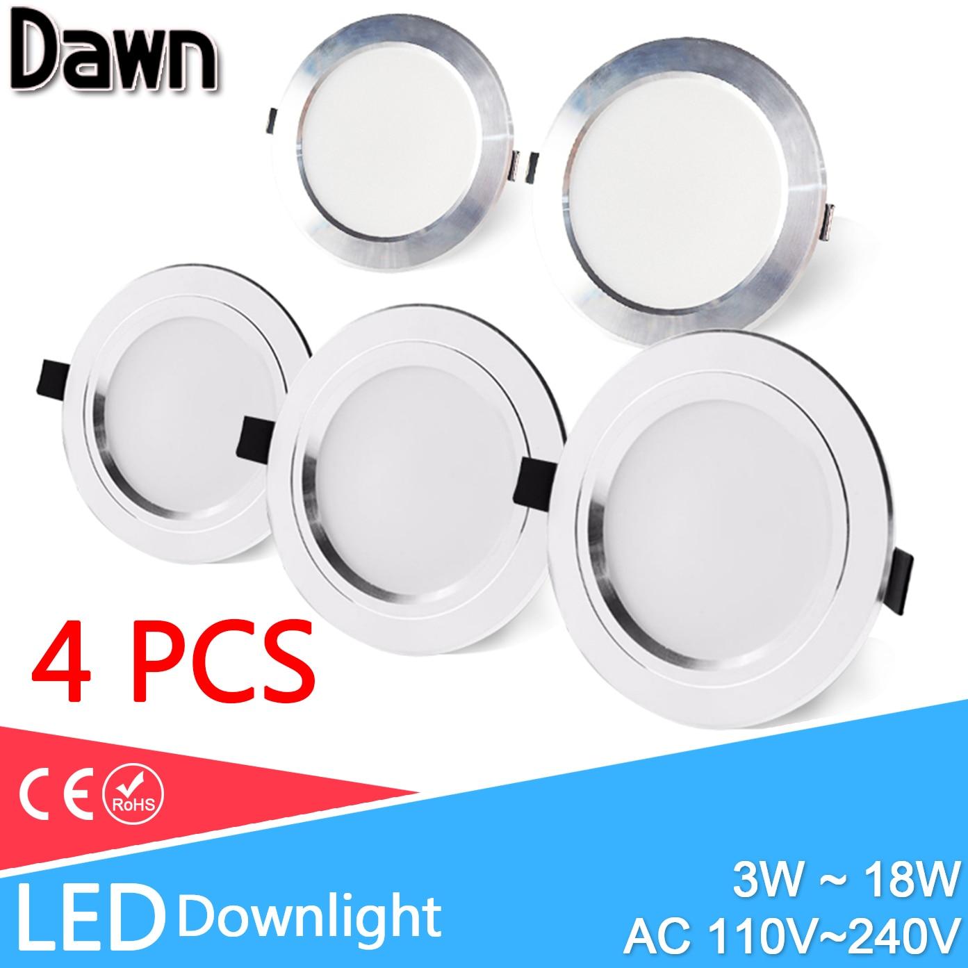 4pcs Ultra Thin LED Downlight 110V 220V Round LED Ceiling Recessed Spot Light Down Light 3W-18W 7W 9W 10W 12W 15W gd dimmable led recessed downlight 3w 5w 7w 10w 12w 15w 20w 24w spot led ceiling down light 110v 220v 230v cob led downlight