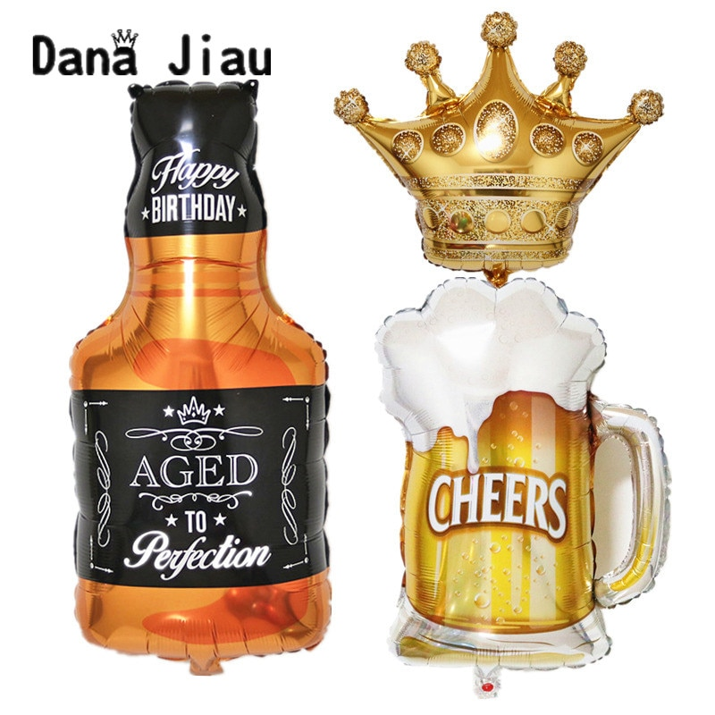 Gran corona de oro botella de whisky cerveza copa de aluminio globo Bar rey feliz año fiesta de cumpleaños decoración para celebración de boda