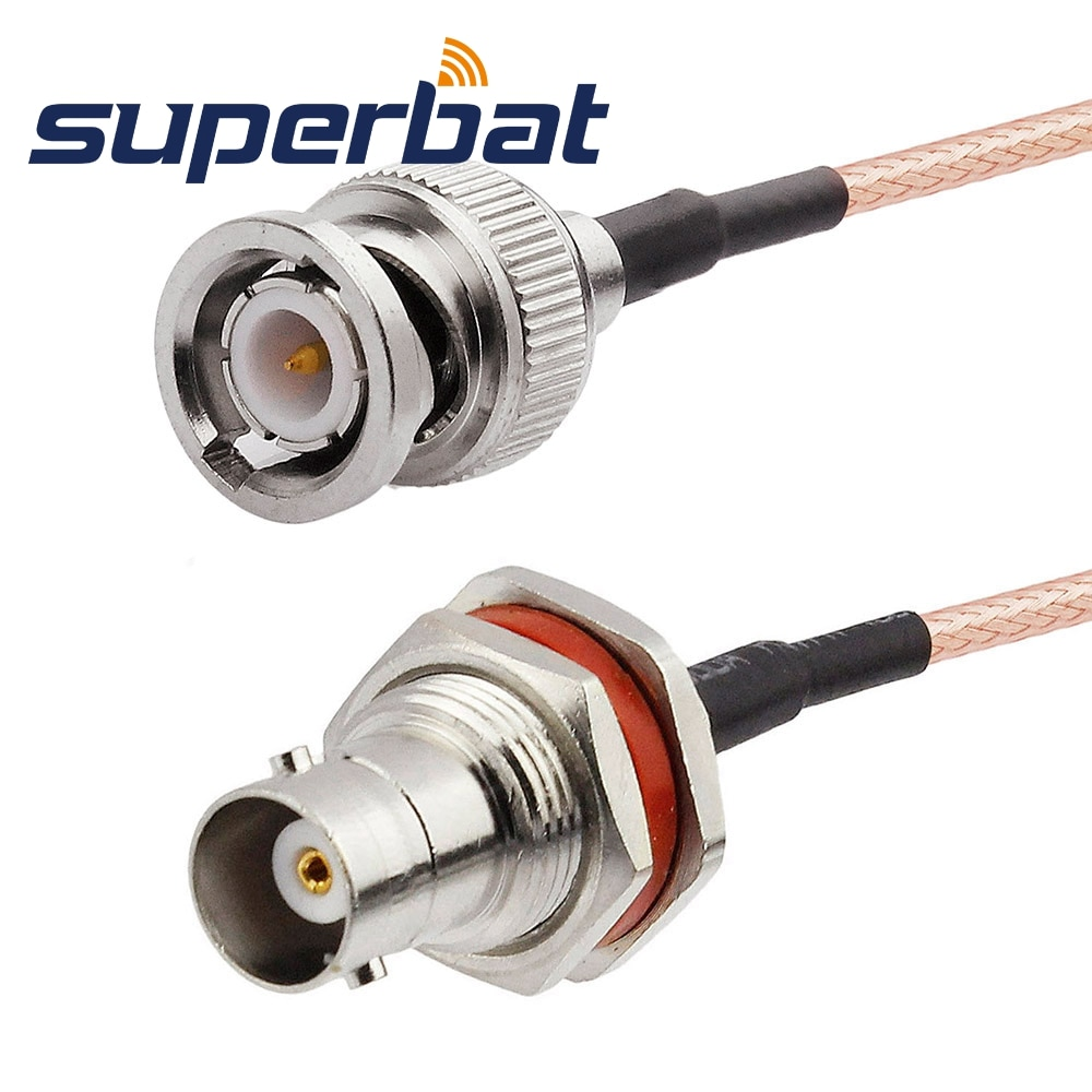 superbat universal n cable n male plug to plug rg400 15cm custom cable rf coaxial cable Superbat BNC Male Plug to BNC Jack Female nut Bulkhead Crimp RF Coaxial Cable for RG316 15cm Pigtail Cable Wifi
