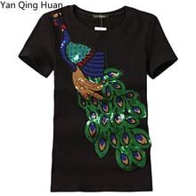 Été nouveau motif paon Animal Harajuku hauts t-shirts mode Sequin broderie coton col rond à manches courtes T-shirt mince