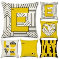 sbb hot sales fashion love letter yellow printed cushion cover geometric decorative sofa throw car chair home decor pillow case