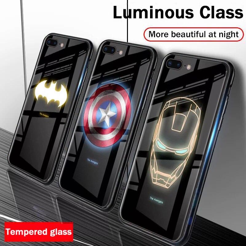 Светящийся чехол из закаленного стекла для телефона Marvel Avengers для iPhone 6 6s 7 8 Plus 11 Pro XS Max XR 10 8 Plus 7Plus Batman Ironman