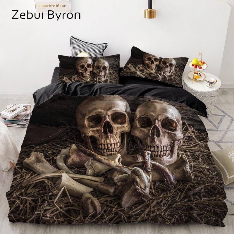 Luxus Bettwäsche Sets 3D Nach, Bettbezug-set Königin/König, Quilt/Decke Abdeckung Set, 3 PCS Bett se, halloween schädel bett leinen