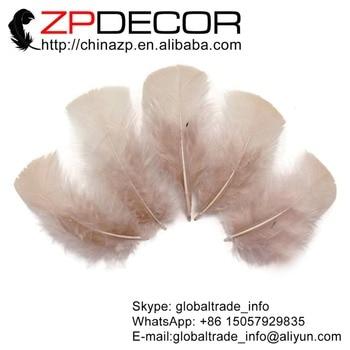 Leading Supplier ZPDECOR Factory 500pcs/lot Beautiful Nude Turkey Flat T-Base Plumage Feathers for Wedding Decoration