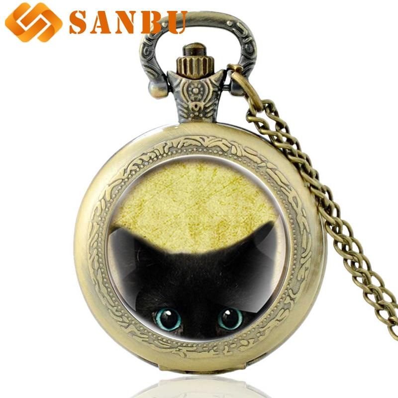 Fashion Bronze Black Cat Punk Necklace Quartz Watches Vintage Men Women Bronze Quartz Pocket Watch Retro Jewelry Gifts