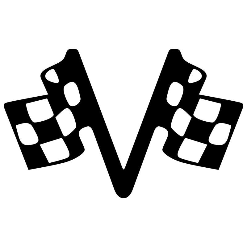 15.2cm*9.5cm Checker Flags Racing Vinyl Decals Cartoon Car Sticker Black/Silver S3-4842