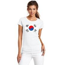 BLWHSA Top Korea Nostalgic National flag Design Women Tshirt O Neck Short Sleeve the Korea Fans Cott