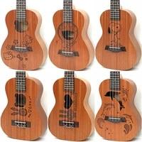 21 inch soprano uke 4 strings ukulele sapele cartoon guita acoustic small guitar uke for chindren concert