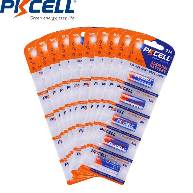 50 uds/10 de la tarjeta PKCELL 23a MN21 V23GA VR22 A23 L1028 12 v pilas secas alcalinas 23a de batería 12 v para luz LED sin llave de coche