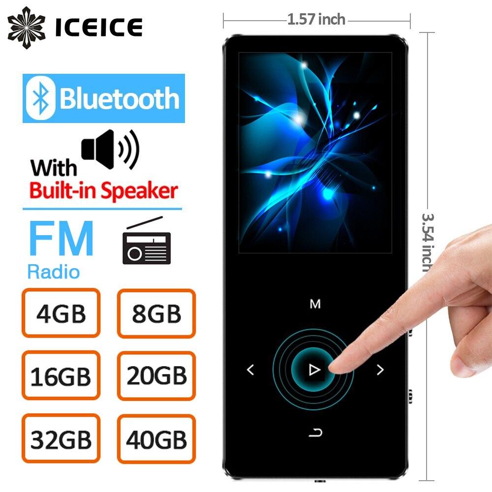 Leitor de mp3 de iceice com as teclas do toque de bluetooth alto-falante embutido 8 gb 16 gb 32 gb 40 gb de alta fidelidade portátil walkman rádio fm gravação mp 3