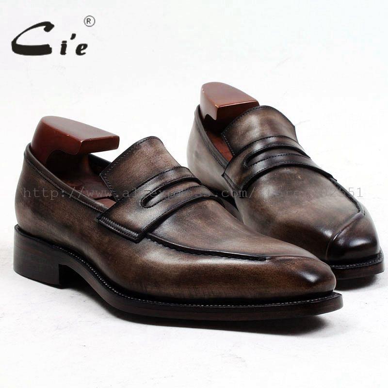 cie Square Toe Bespoke Men Leather shoe Custom Handmade Genuine Calf Leather men's slip-on Patina Brown Loafer Men shoe loafer91
