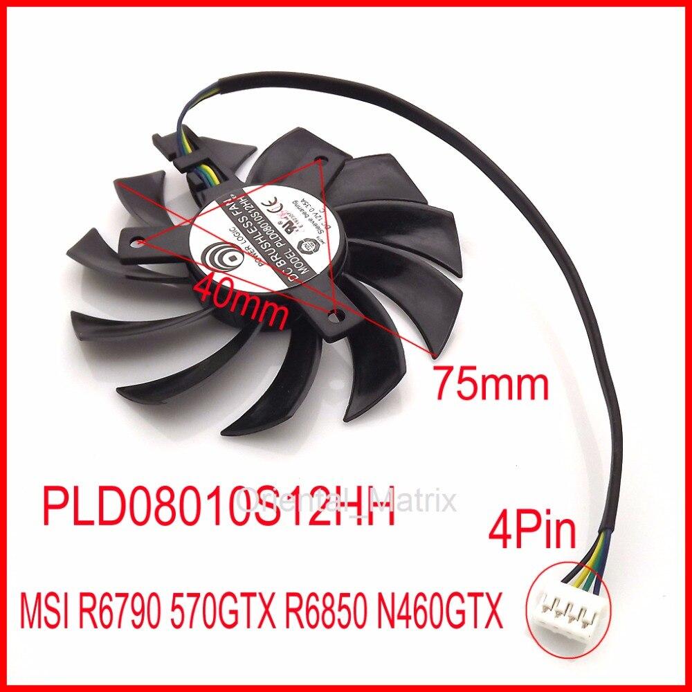 Бесплатная доставка, Вентилятор Охлаждения видеокарты PLD08010S12HH 12 В 0,35a 75 мм для MSI R6790 570GTX R6850 N460GTX
