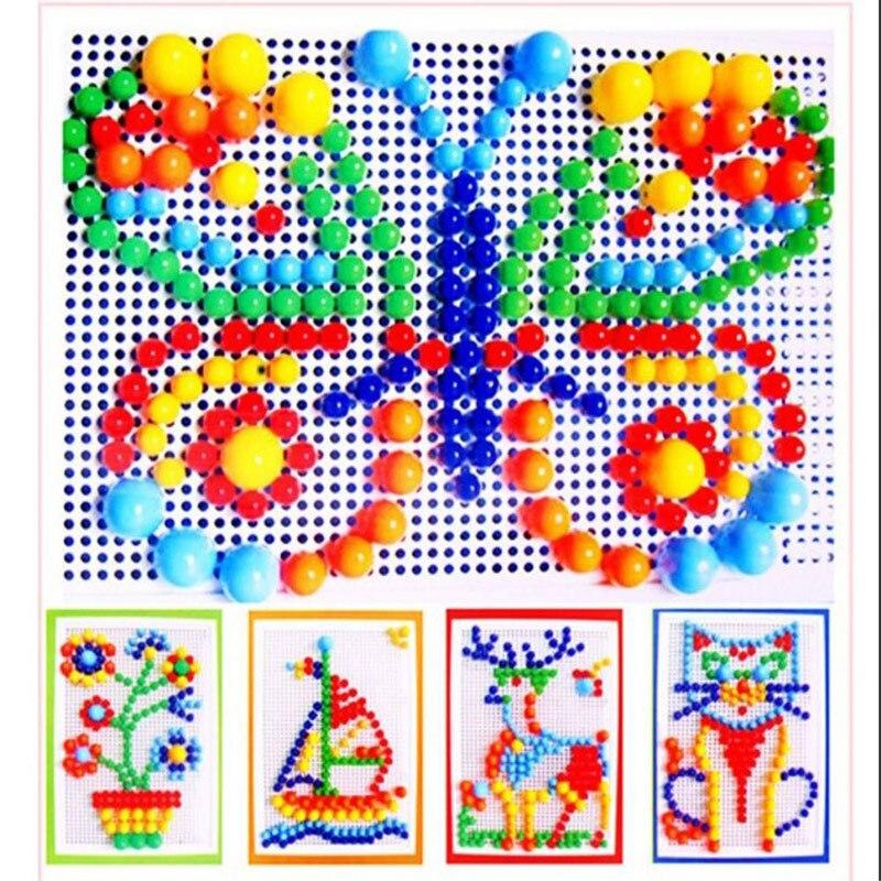 296/600 pçs/lote Crianças dos miúdos Brinquedos Intelectual Cogumelo Prego Kit Brinquedos para Presentes Dos Miúdos DIY Imagem Enigma Brinquedos Educativos presente