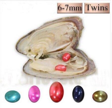 Oval ostras con perlas cumpleaños regalo de boda de agua dulce de vacío-paquete de 6-7mm gemelos arroz desea perlas AAA colores mezclados ABH753