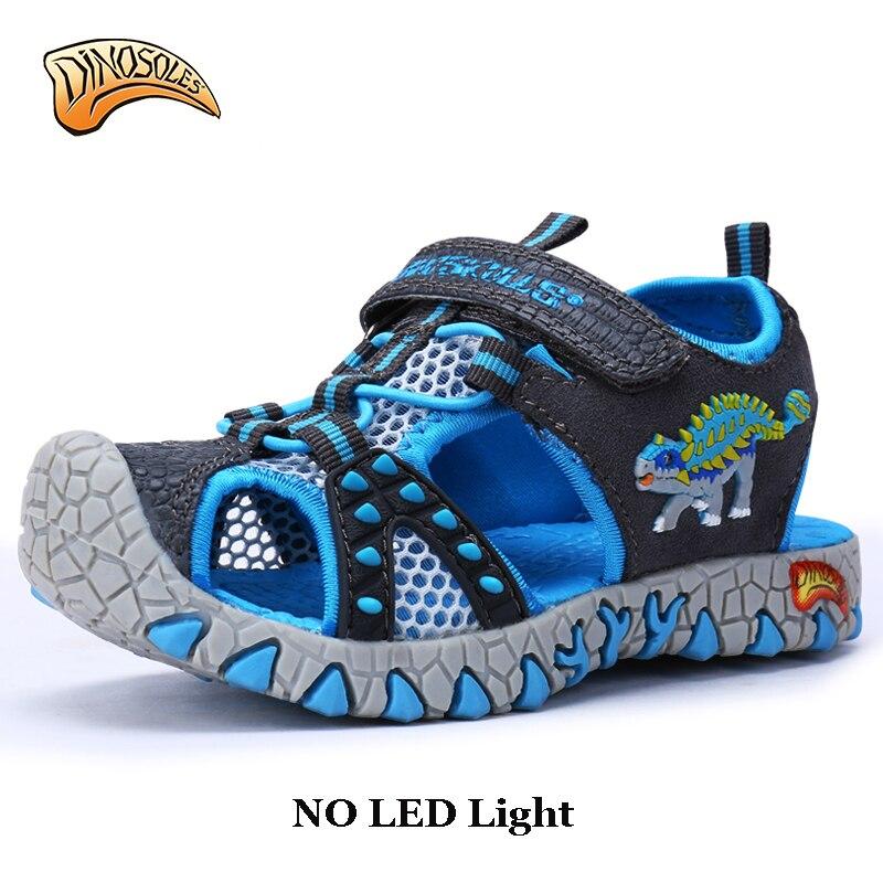 Dinoscrânios sem led crianças praia meninos sapatos sandálias verão 2018 criança sandálias de couro sapatos dinossauro verão 27-34