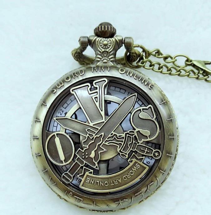 Reloj de bolsillo de cuarzo de bronce hueco con tema Sword Art Online con cadena de collar para hombres y niños, reloj de regalo
