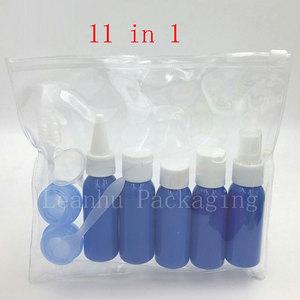 Набор бутылочек для путешествий, 11 шт./компл., синие пластиковые бутылки для путешествий, 30 мл, бутылки для крема-лосьона, 1 унция