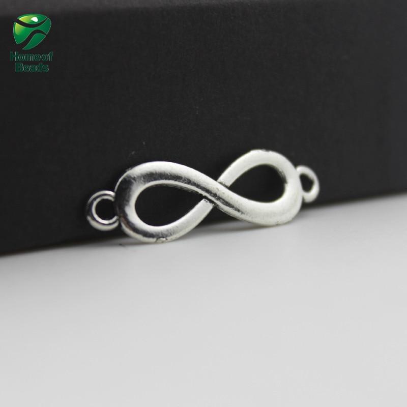 New Fashion Wholesale Antique Silver Infinite Symbol Accessories For Making Jewelry 8x22mm  (20 piece/lot) ZA1055
