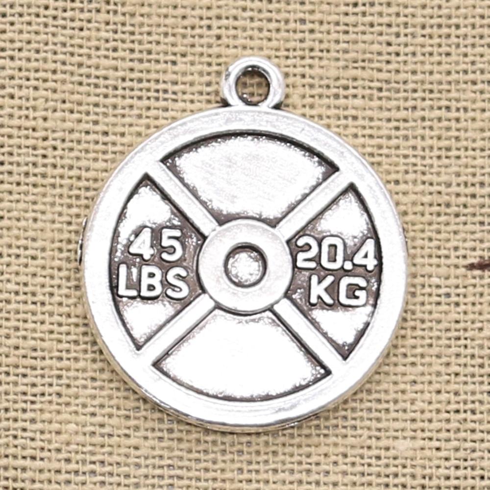 Abalorios de 6 uds. De disco de pesas de 45lb, 20,4 kg, 24x28mm, colgantes de Color plateado Bronce Antiguo, accesorios de fabricación DIY, joyería tibetana